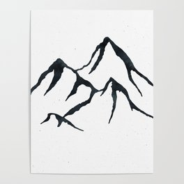 MOUNTAINS Black and White Poster