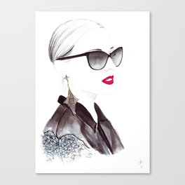 Watercolour Fashion Illustration Titled In Dior Zeli's Canvas Print