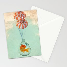 parachute goldfish Stationery Cards