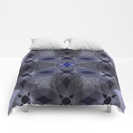 Three Colliding Circles in Black and Blue Comforters