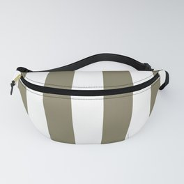 Army Brown and White Vertical Cabana Tent Stripes Fanny Pack