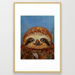 Baby Sloth Framed Art Print