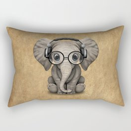 Cute Baby Elephant Dj Wearing Headphones and Glasses Rectangular Pillow