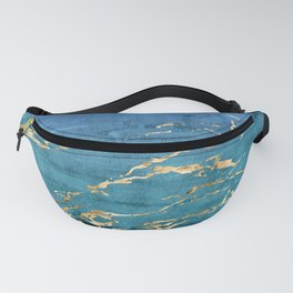 Aqua-Blue Sparse Marble Gradient with Gold Veins Fanny Pack