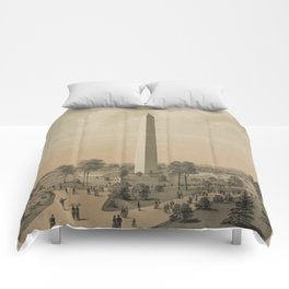 Vintage Washington Monument Illustration (1886) Comforters