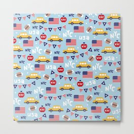 Made in the USA New York City icons pattern Metal Print