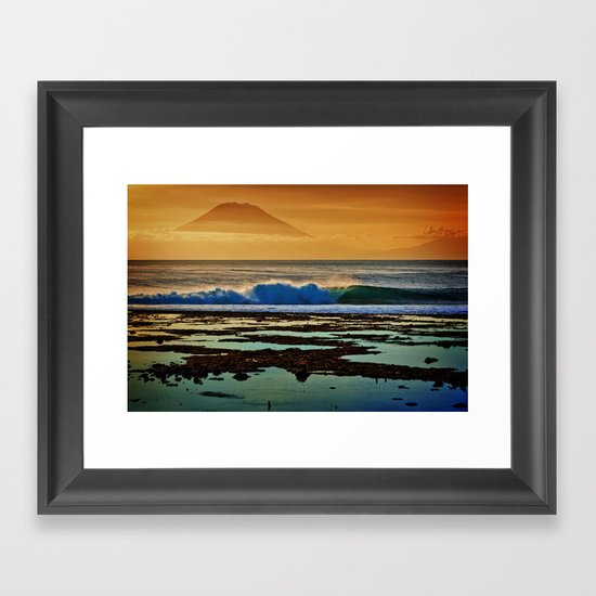 Indonesian Wave and Volcano Framed Art Print