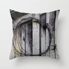 wood and barbed wire Throw Pillow