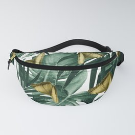 Tropical Butterfly Jungle Leaves Pattern #3 #tropical #decor #art #society6 Fanny Pack