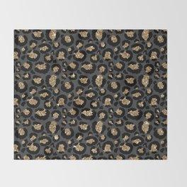 Black Gold Leopard Print Pattern Throw Blanket