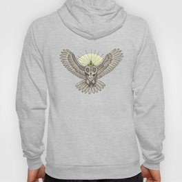 Mason Owl with skull, rule, compass and the eye that sees everything (tattoo style - color version) Hoody