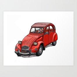 Red 2cv Art Print