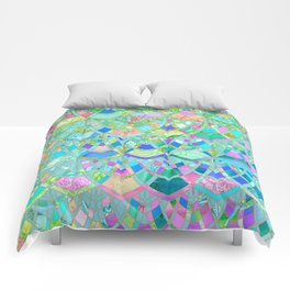 Art Deco Watercolor Patchwork Pattern 1 Comforters
