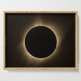 Flares - Total Solar Eclipse with Subdued Corona and Sun Bursts Serving Tray