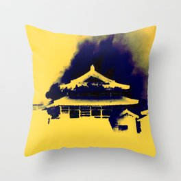 Shuri Castle Burning: A Silhouette of a Tragedy Throw Pillow