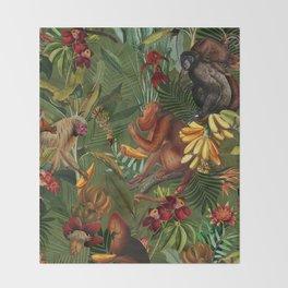 Vintage & Shabby Chic - Green Monkey Banana Jungle Throw Blanket