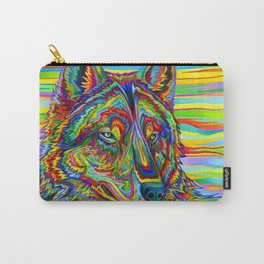 Colorful Psychedelic Rainbow Wolf Carry-All Pouch