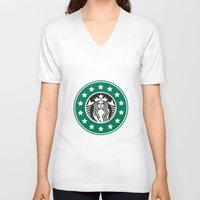 starbucks V-neck T-shirts featuring starbucks parody by Cream5