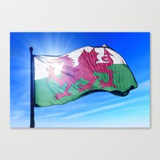 Wales flag waving on the wind Canvas Print
