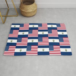 Mix of flag :  Usa and Salvador Rug