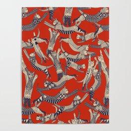 cat party retro Poster
