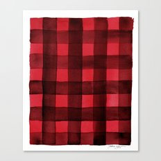 Buffalo Plaid Watercolor in Red Canvas Print