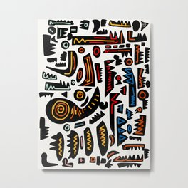 African Inspired Pattern Abstract Art Graffiti  Metal Print