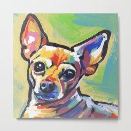 Fun Chihuahua Dog bright colorful Pop Art Metal Print