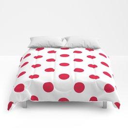 Polka Dots - Crimson Red on White Comforters