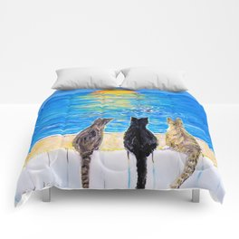 Cat Beach Sunset 2 Comforters