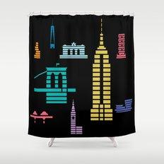 New York Skyline Empire State Poster Black Shower Curtain