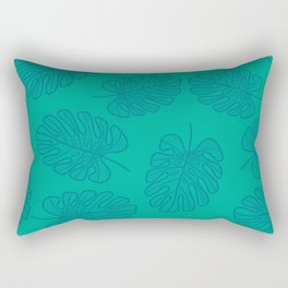 UrbanNesian Teal Monstera Leaf Rectangular Pillow