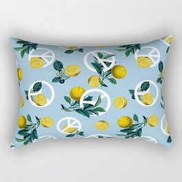 Peace Symbol and Lemon Patterns Rectangular Pillow