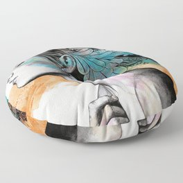 Moral Eclipse II   doodle woman portrait Floor Pillow