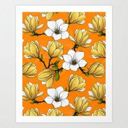 Magnolia garden in yellow Art Print