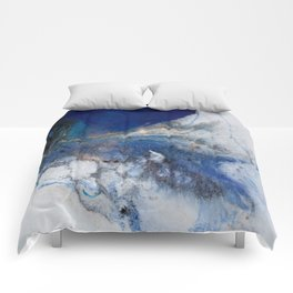 Abstract blue marble Comforters