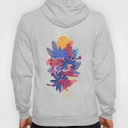 Vector graphic cheetah surrounded by exotic plants Hoody