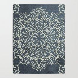 Mandala Vintage Ivory Blue Poster