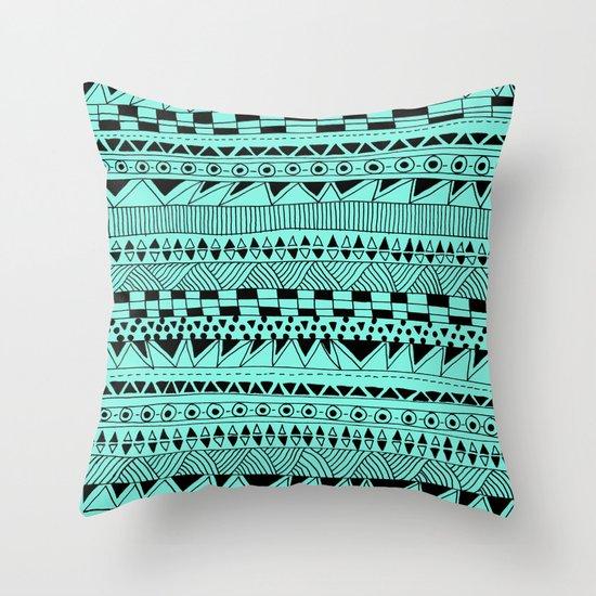 Fun - Black and Mint Throw Pillow