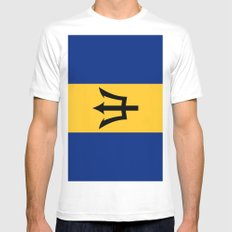 Flag Of Barbados Mens Fitted Tee White MEDIUM