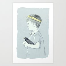 Boy and bird blue Art Print