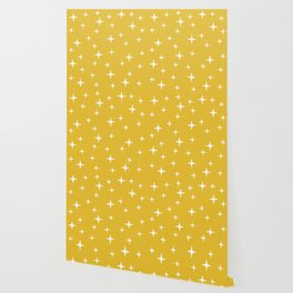 Mid Century Modern Star Pattern 443 Mustard Yellow Wallpaper