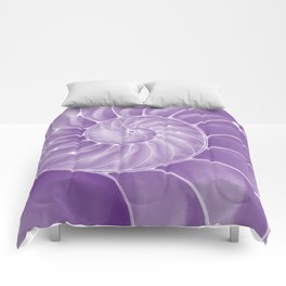 Ultra Violet Chambered Nautilus Comforters