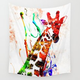 Giraffe Grunge Wall Tapestry