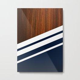 Wooden Navy Metal Print