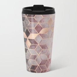 Pink And Grey Gradient Cubes Metal Travel Mug