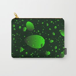 Large green drops and petals on a dark background in nacre. Carry-All Pouch