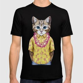 Portrait of Cat in summer shirt with Hawaiian Lei. T-shirt