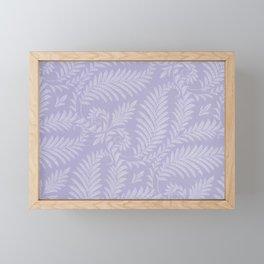 Purple Damask Fern Leaf Fancy Scroll Pattern Framed Mini Art Print