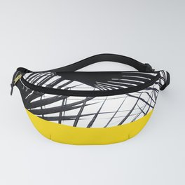 Black and White Tropical Palm Leaves on Sunny Yellow Fanny Pack